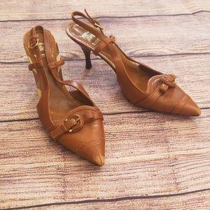 Burberry 10.5 brown pointed toe heels